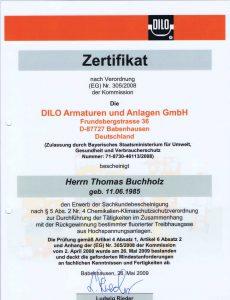 Zertifikat nach EG 305/2008 )Mindestanforderung) für die Zertifizierung beim Umgang mit SF6 Gas